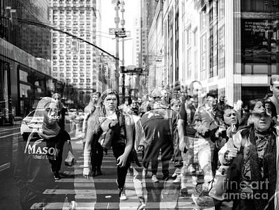 Photograph - People Of New York City Double Exposure by John Rizzuto