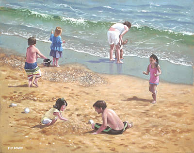 Painting - people on Bournemouth beach kids in sand by Martin Davey