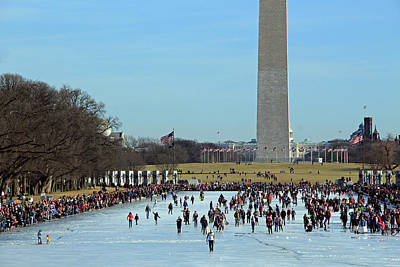 Photograph - Washington People On Ice As George Watches Over Them by Cora Wandel