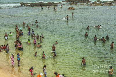 Photograph - People On The Beach At Galle, Sri Lanka by Patricia Hofmeester