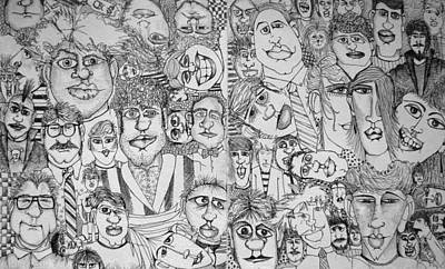 Drawing - People People People by Michelle Calkins