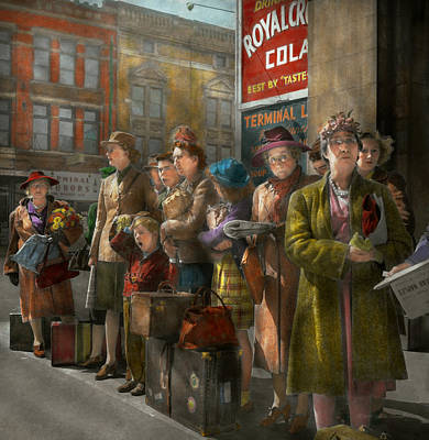 Old Bus Stations Photograph - People - People Waiting For The Bus - 1943 by Mike Savad