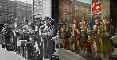 Old Bus Stations Photograph - People - People Waiting For The Bus - 1943 - Side By Side by Mike Savad