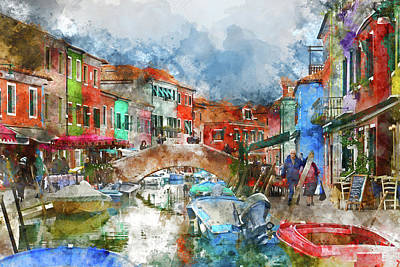Photograph - People Shopping In Burano Island Venice Italy by Brandon Bourdages