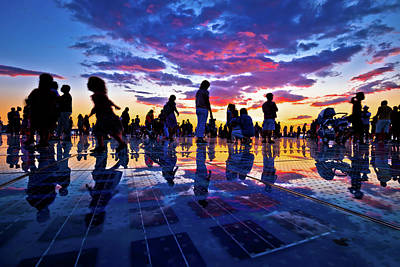 Photograph - People Silhouette On Colorful Sunset In Zadar by Brch Photography