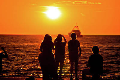 Photograph - People Silhouettes At Golden Sunset At Sea And Yacht On Horizon by Brch Photography