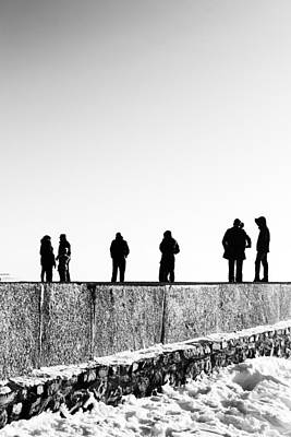 Photograph - People Standing In Groups Abstract Monchrome by John Williams