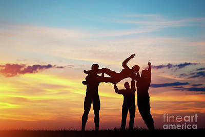 Photograph - People Throwing A Woman To The Sky. by Michal Bednarek