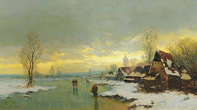 White River Scene Painting - People Walking On A Frozen River  by Johann II Jungblut