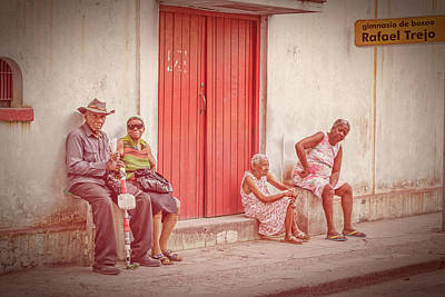 Moody Trees Rights Managed Images - People Watching in Havana Cuba Royalty-Free Image by Joan Carroll