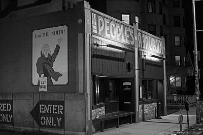 Photograph - People's Republik Central Square Cambridge Ma Black And White by Toby McGuire