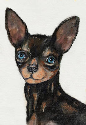 Chiwawa Portrait Wall Art - Painting - Pepee Dog Portrait by Linda Diane Taylor