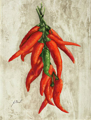 Peppers Painting - Peperoncini by Guido Borelli
