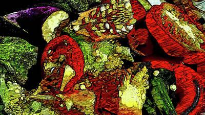 Pepper Eggplant Scraps  Art Print by Mark Victors