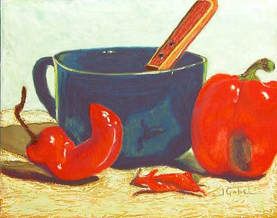 Wall Art - Pastel - Pepper Harvest by Laura Gabel