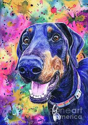 Doberman Pinscher Wall Art - Painting - Pepper Uk by Zaira Dzhaubaeva