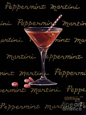 Stemware Painting - Peppermint Martini by Janet  Kruskamp