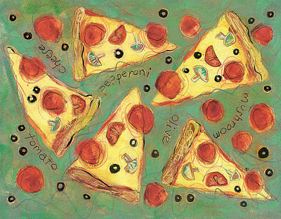 Pizza Painting - Pepperoni Pizza by Jen Norton
