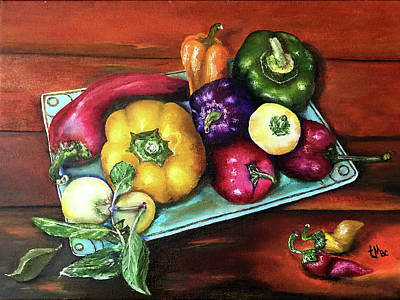 Painting - Peppers And A Turquoise Tray by Terry R MacDonald
