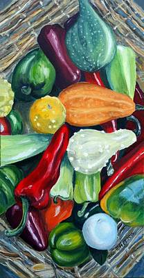 Painting - Peppers And Gourds by Julie Brugh Riffey