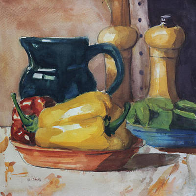 Pepper Painting - Peppers And Jug by John Holdway
