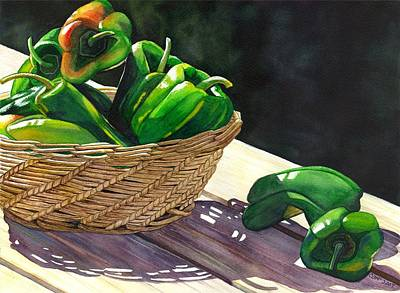 Bell Pepper Painting - Peppers by Catherine G McElroy
