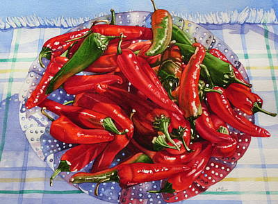 Chili Peppers In Steamer Watercolour Art Original by Lillian  Bell