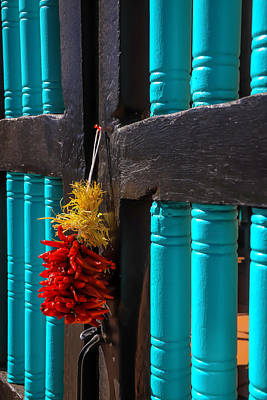 Of Painted Door Photograph - Peppers On Blue Black Gate by Garry Gay