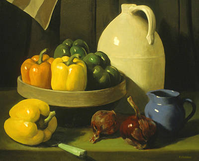 Painting - Bell Peppers, Red Onions And Pottery by Robert Holden