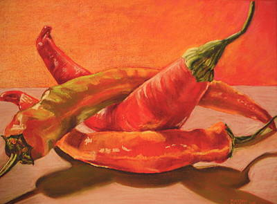 Culinary Drawing - Peppers Playing Twister by Outre Art  Natalie Eisen