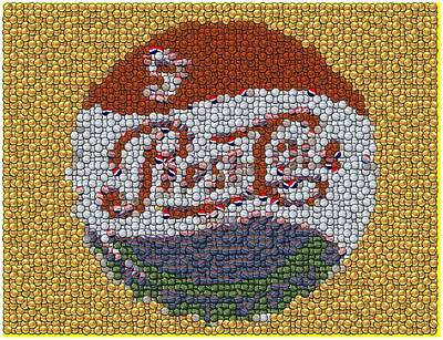 Pepsi Bottle Cap Mosaic Art Print by Paul Van Scott