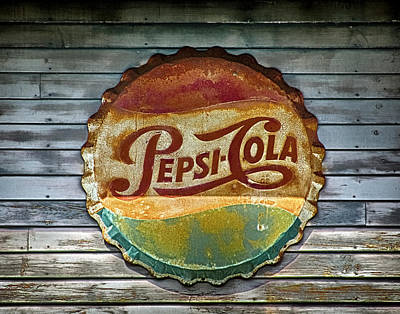 Bottlecap Photograph - Pepsi-cola Sign Vintage by Betty Denise