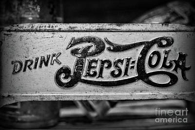 Photograph - Pepsi Double Dot Metal Carrier Close Up In Black And White by Paul Ward