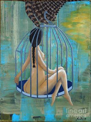 Painting - Perceptions Of The Lady In The Birdcage by Jean Fry