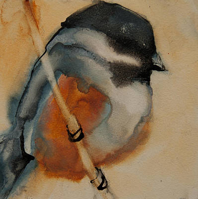 Painting - Perched Chickadee 1 by Jani Freimann