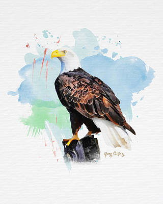 Art Print featuring the painting Perched Eagle by Greg Collins