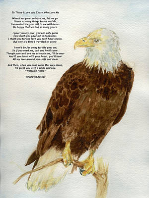 Painting - Perched Eagle- With Verse by Andrew Gillette