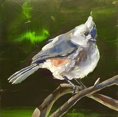 Titmouse Painting - Perched by Gary Bruton