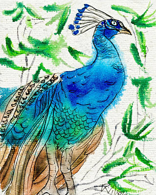 Painting - Perched Peacock I by D Renee Wilson