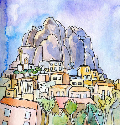 Textured Landscapes Drawing - Perched Village Provence  by Elizabetha Fox