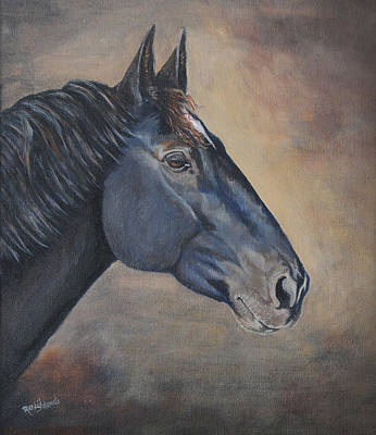 Acrylic Horse Painting - Percheron Hanoverian Portrait by Renee Forth-Fukumoto