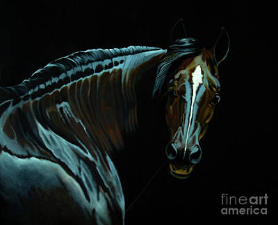 Drawing - Percheron Mare In The Moonlight by Cheryl Poland