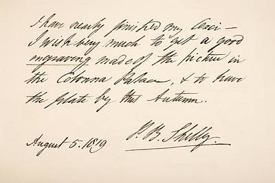 Autographed Drawing - Percy Bysshe Shelley, 1792 by Vintage Design Pics
