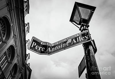 Photograph - Pere Antoine Alley - New Orleans- Bw by Kathleen K Parker