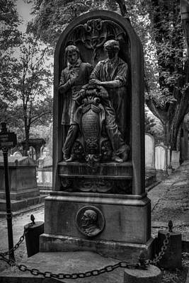 Photograph - Pere Lachaise - Schoelcher Grave 001 Bw by Lance Vaughn