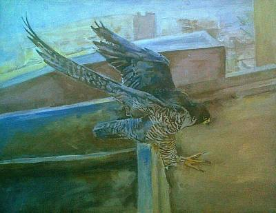 Painting - Peregrine Falcon About To Land by Rosanne Gartner