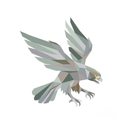 Flying Hawks Digital Art - Peregrine Falcon Swooping Grey Low Polygon by Aloysius Patrimonio