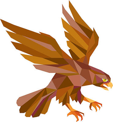 Hawk Birds Digital Art - Peregrine Falcon Swooping Low Polygon by Aloysius Patrimonio