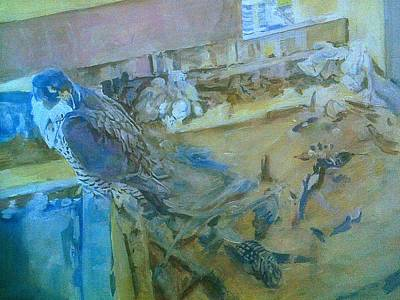 Painting - Peregrine Falcons, Asleep On Nest by Rosanne Gartner