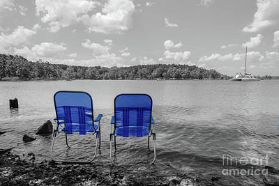 Photograph - Perfect Day At The Lake Grayscale by Jennifer White